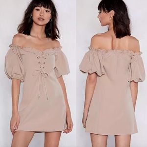 NEW Nasty Gal Lace Up Puff Sleeve Off-the-Shoulder